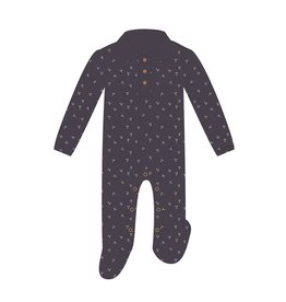 Loved Baby Organic Polo Footie - Navy Dots