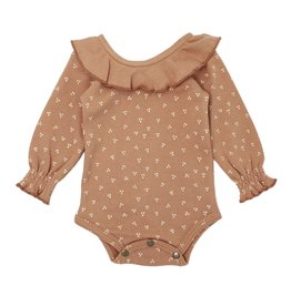 Loved Baby Organic Ruffle Bodysuit - Nutmeg Dots