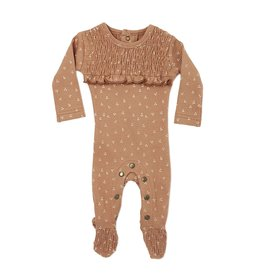 Loved Baby Organic Smocked Overall - Nutmeg Dots