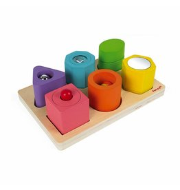 Janod I Wood Shapes & Sounds 6-Block Puzzle