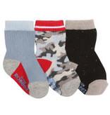 Robeez 3 Pk Socks, Camo Grey/BL/Red 12-24m