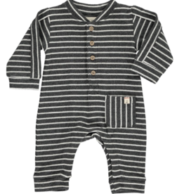 Me + Henry Charcoal/White Romper, Baby