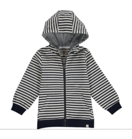 Me + Henry Navy/Cream Stripe Hooded Top