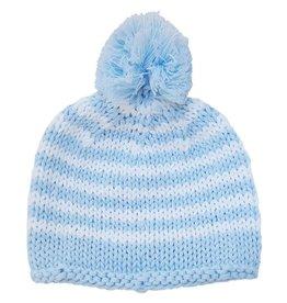 Huggalugs Pom Pom Stripe Beanie - Blue NB