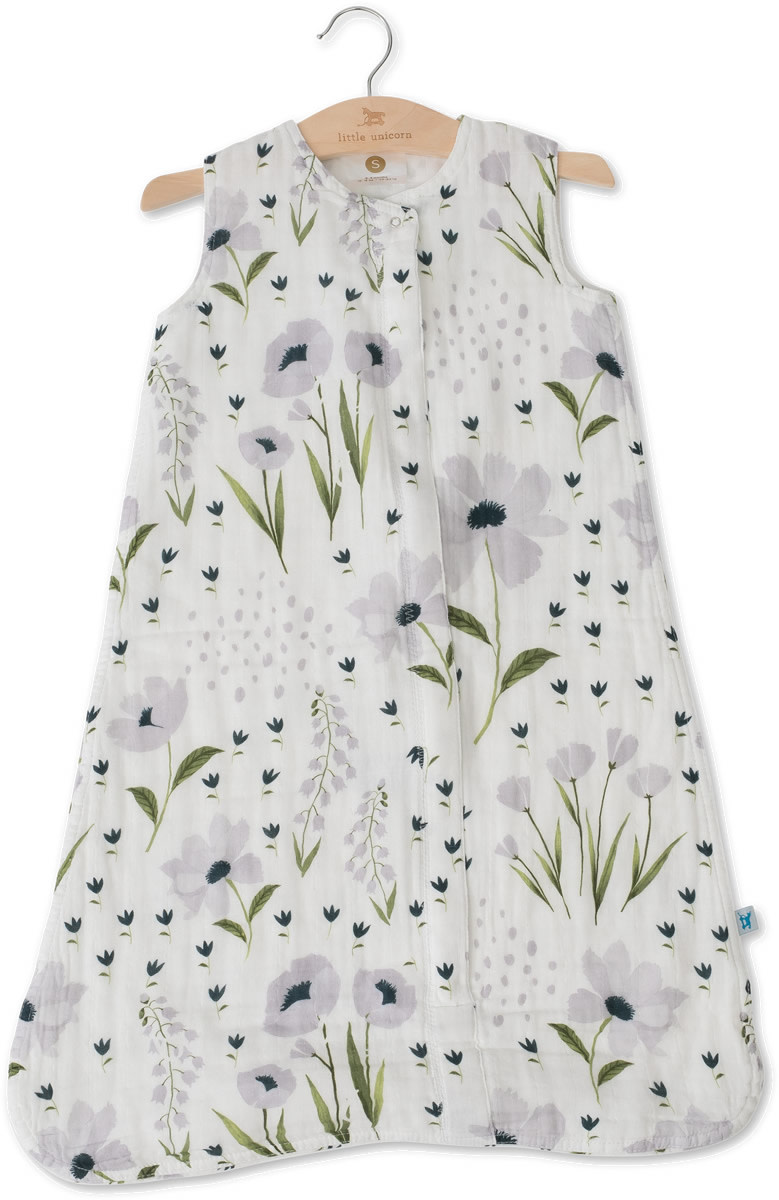 Little Unicorn Cotton Muslin Sleep Bag Small - Blue Windflower