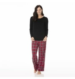 Kickee Pants Women's Long Sleeve Loosey Goosey Tee & Pant Set Christmas Plaid 2019