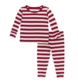 Kickee Pants Print Long Sleeve Pajama Set Candy Cane Stripe 2019