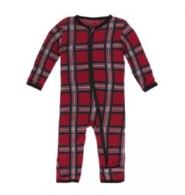 Kickee Pants Print Coverall with Zipper Christmas Plaid 2019
