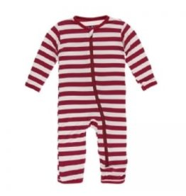 Kickee Pants Print Coverall with Zipper Candy Cane Stripe 2019