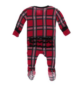 Kickee Pants Print Classic Ruffle Footie with zipper Christmas Plaid 2019 6-9M