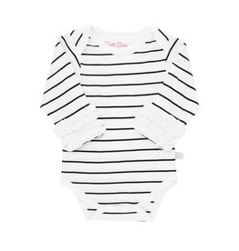 RuffleButts Ruffled Long Sleeve Bodysuit, Black White Stripe