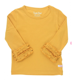 RuffleButts Ruffled Long Sleeve Layering Tee, Golden Yellow