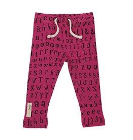 Loved Baby Organic Drawstring Leggings - Magenta Letters