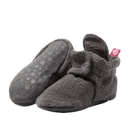 Zutano Cozie Fleece Gripper Bootie - Dark Gray
