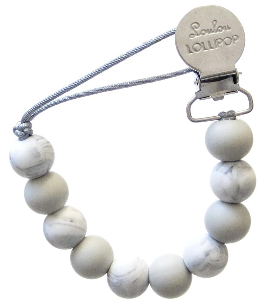 Lou Lou Lollipop Lolli Pacifier Clip - Marble Grey
