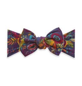 Baby Bling Bows Printed Knot - Plum Leaves