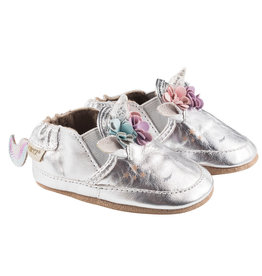 Robeez Soft Soles, Uma Unicorn Shoe - Metallic Silver