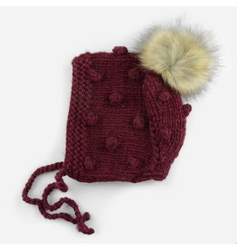 The Blueberry Hill Coco Bonnet Pomegranate with fur pom