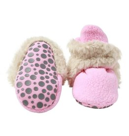 Zutano Cozie Furry Gripper Bootie - Hot Pink