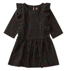 Tea Collection Rainbow Metallic Ruffle Dress - Jet Black