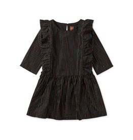 Tea Collection Rainbow Metallic Ruffle Dress - Jet Black
