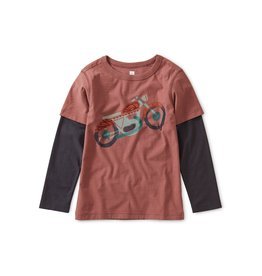 Tea Collection Motorcycle Graphic Layered Tee - Cassis