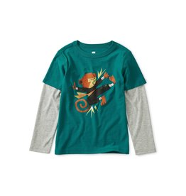 Tea Collection Monkey Graphic Layered Tee - Scuba
