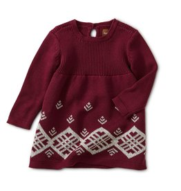 Tea Collection Baby to 4T Chimmi Choden Family Sweater Dress - Deep Cherry
