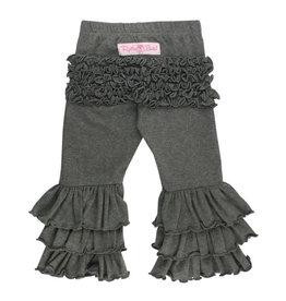 RuffleButts Charcoal Gray Ruffle Pants