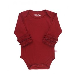 RuffleButts Ruffled Long Sleeve Bodysuit, Cranberry