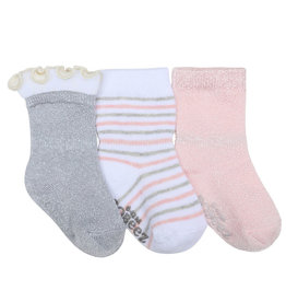 Robeez 3 Pk Socks, Stripes Dots Silver/Pink/White