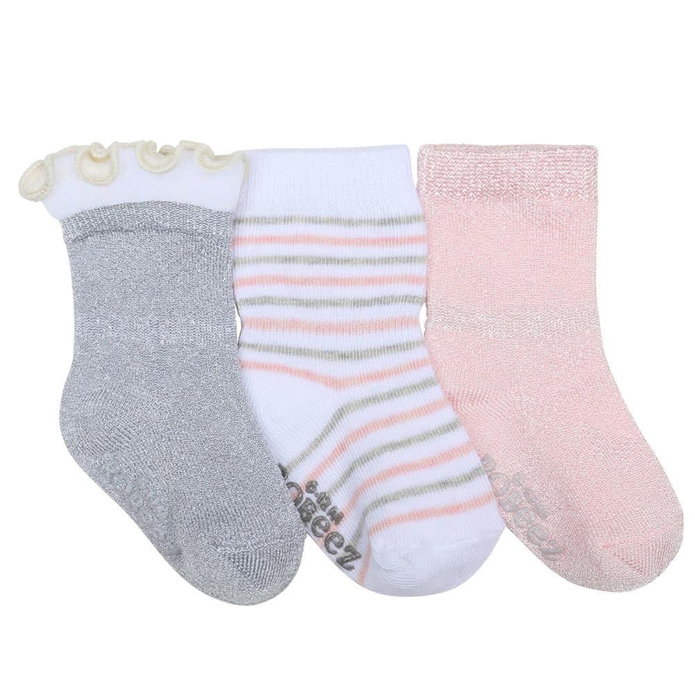 Robeez 3 Pk Socks, Stripes Dots Silver/Pink/White