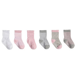 Robeez 6 Pk Socks, Pink and Grey Basics