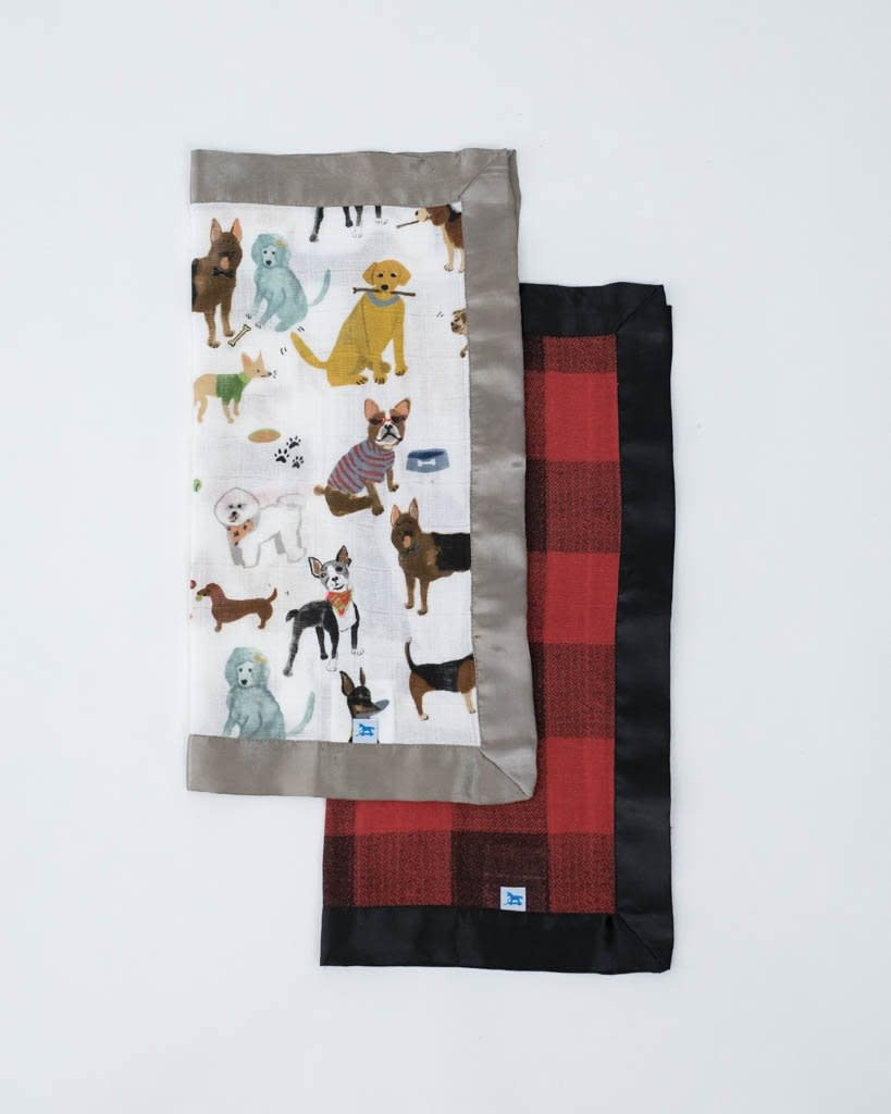 Little Unicorn Cotton Muslin Security Blankets - 2 pack Woof and Red Plaid