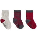 Robeez 3 Pk Socks, Burgundy Basics