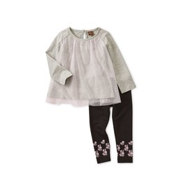 Tea Collection Twirling Tulle Baby Set - Med Heather Grey