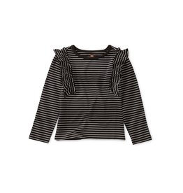 Tea Collection Striped Ruffle Flutter Top - Jet Black