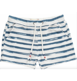 Me + Henry Navy Handprinted Stripe Shorts 2-3Y
