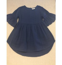 City Mouse Muslin Flutter Sleeve Dress Midnight blue