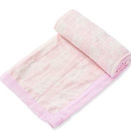 Angel Dear Jacquard Blanket - Bunny Pink
