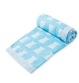 Angel Dear Jacquard Blanket - Bear Blue