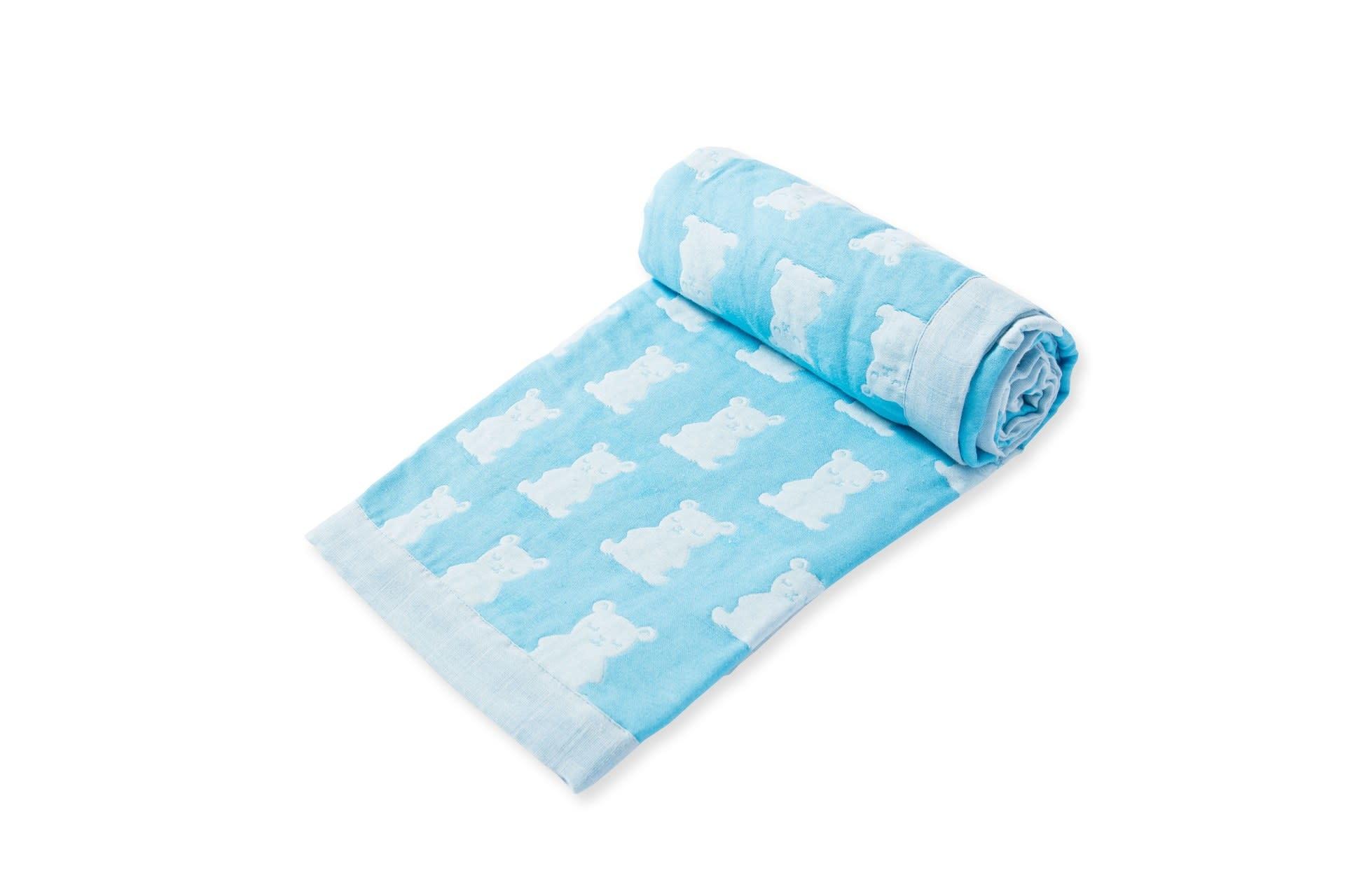 Angel Dear Jacquard Blanket - Bear Blue