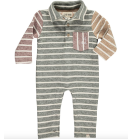 Me + Henry Green Multi Stripe Polo Romper, Baby