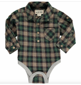 Me + Henry Green Plaid Woven Onesie, Baby