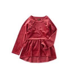 Tea Collection Velour Tunic Ruffle Top - Earth Red