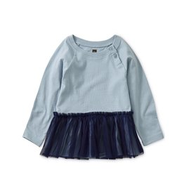 Tea Collection Baby Girl Tulle Trimmed Top - Cloud