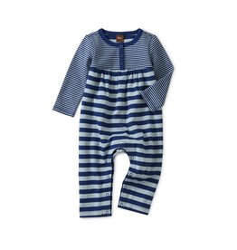 Tea Collection Baby Girl Striped Double Knit Romper - Nightfall