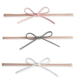 Baby Bling Bows 3pk Suede Cord Bow - pink, gray, white