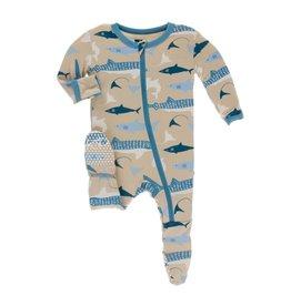 Kickee Pants Print Footie with Zipper Burlap Sharks