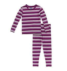 Kickee Pants Print Long Sleeve Pajama Set Coral Stripe